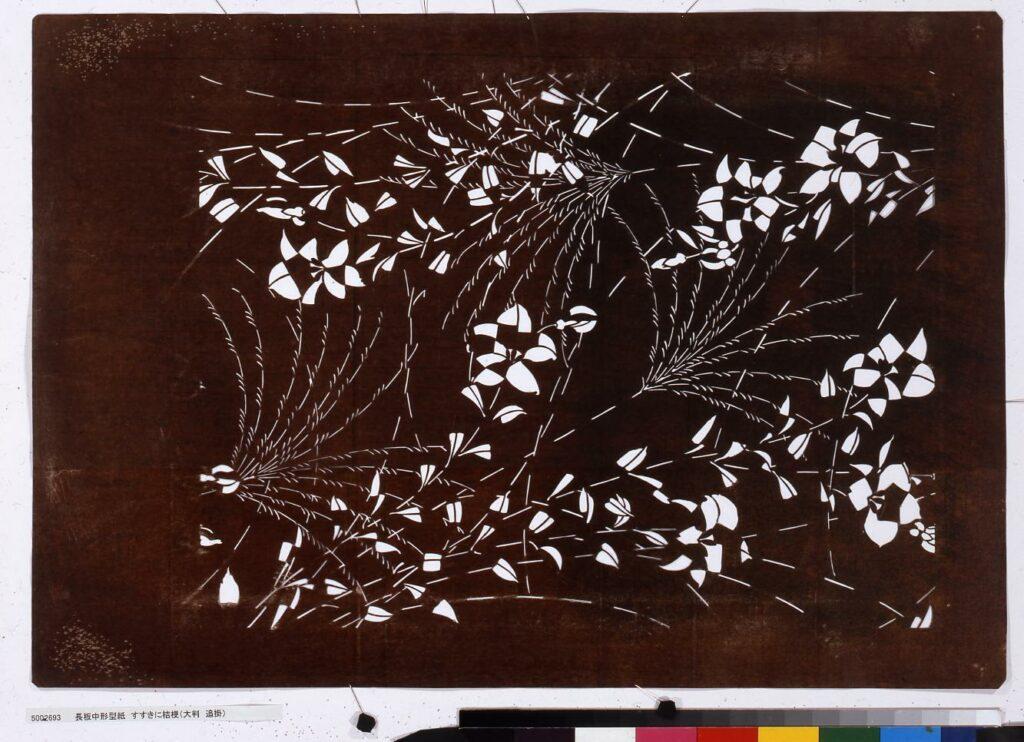 作品画像:長板中形型紙 すすきに桔梗(大判 追掛)