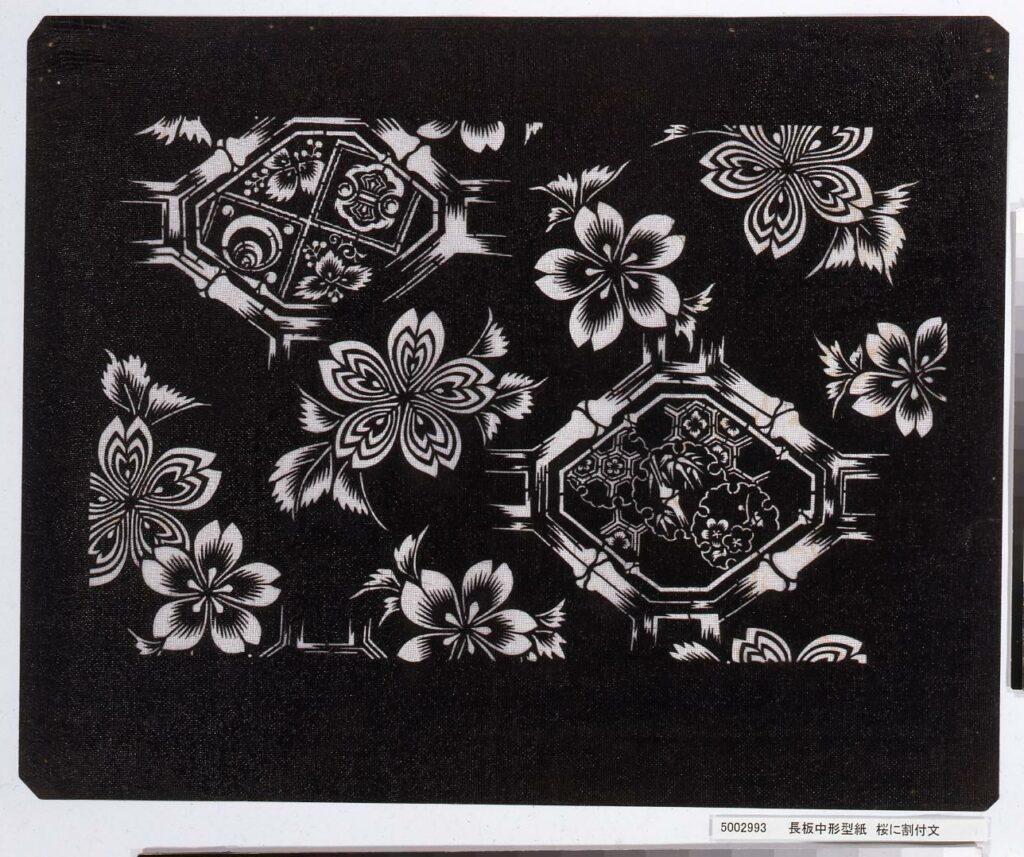 作品画像:長板中形型紙 桜に割付文