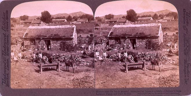 作品画像:Homes near the battle-ground Protected by Japan's Soldiers―Chines Village between DalmyAnd PortArthur.