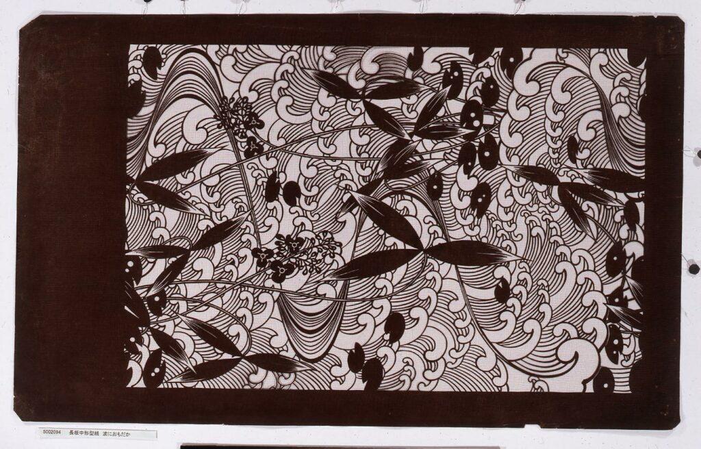 作品画像:長板中形型紙 波におもだか