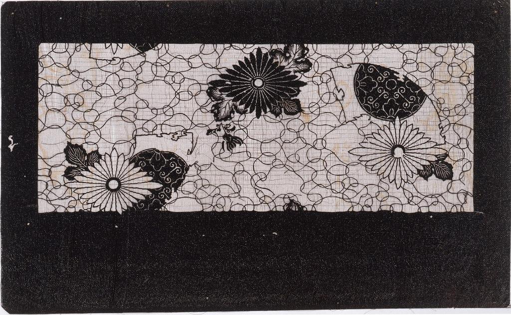 作品画像:長板中形型紙 菊に扇