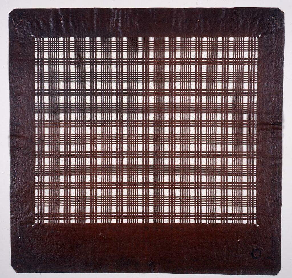 作品画像:長板中形型紙 三筋格子