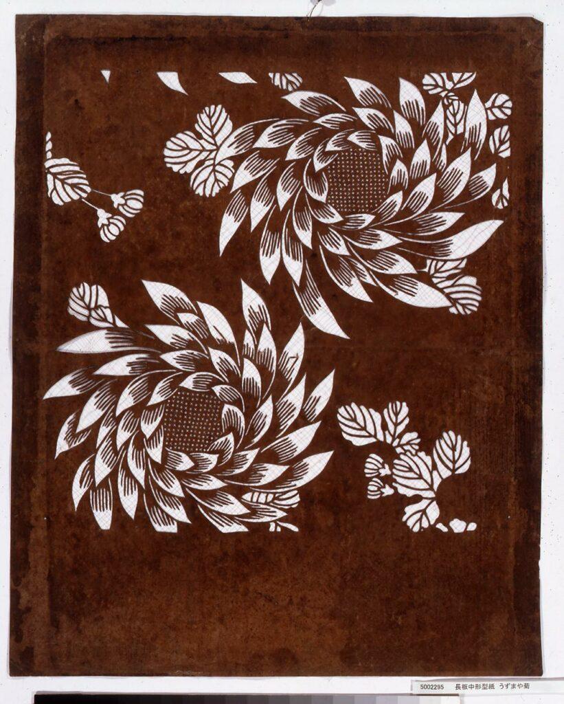 作品画像:長板中形型紙 うずまや菊