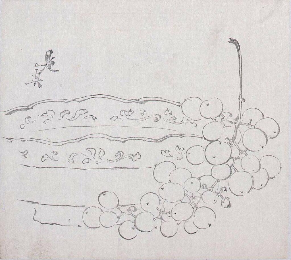 作品画像:墨版 皿と葡萄