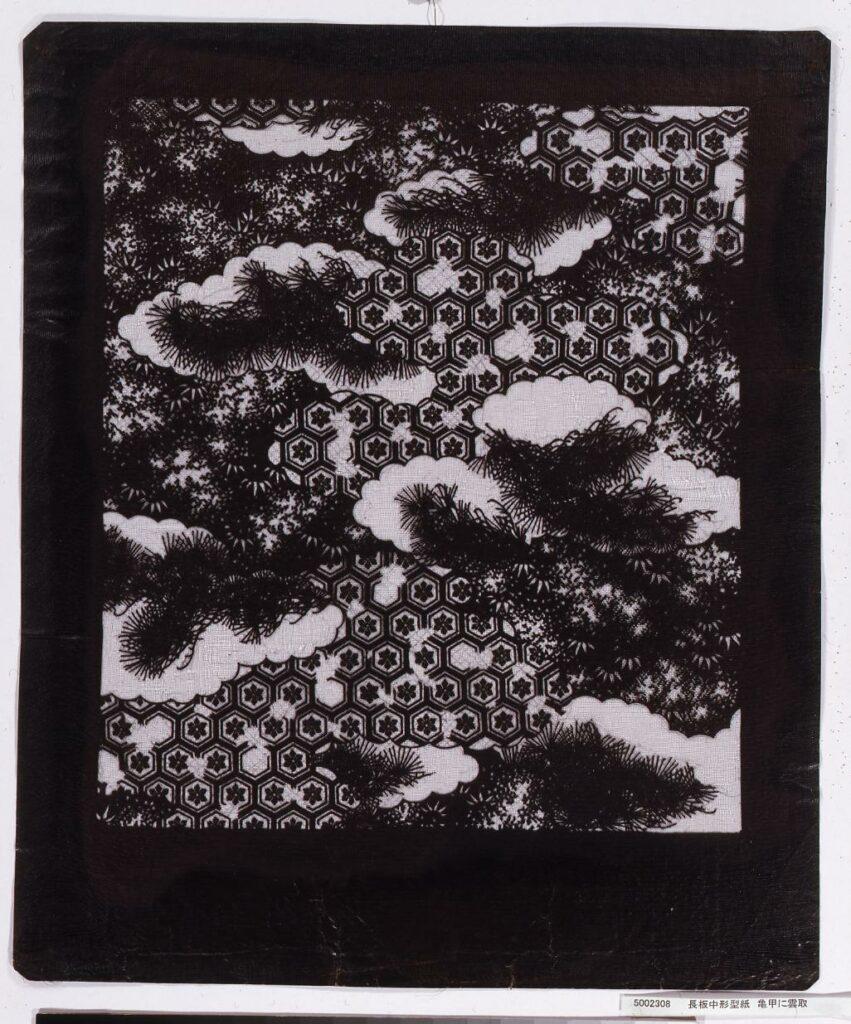 作品画像:長板中形型紙 亀甲に雲取