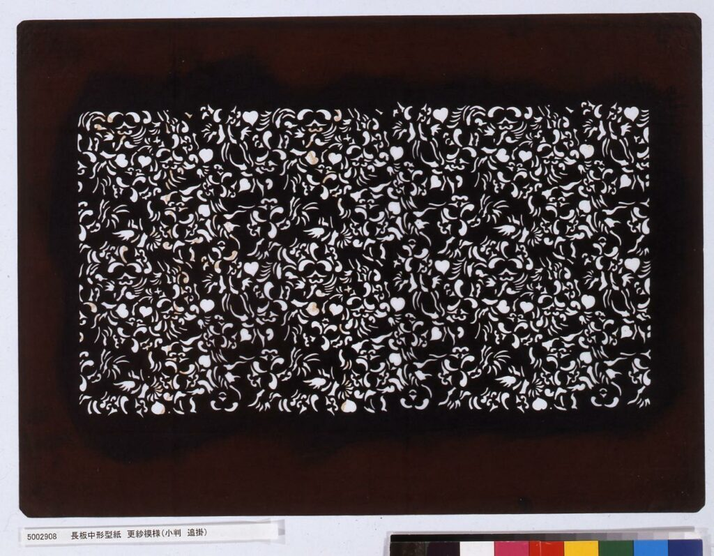作品画像:長板中形型紙 更紗模様(小判 追掛)