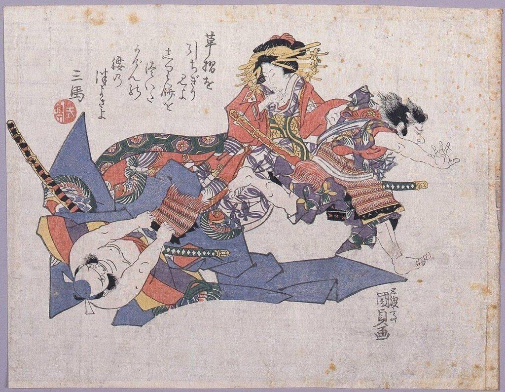 作品画像:草摺引 曽我五郎、朝比奈、化粧坂の少将