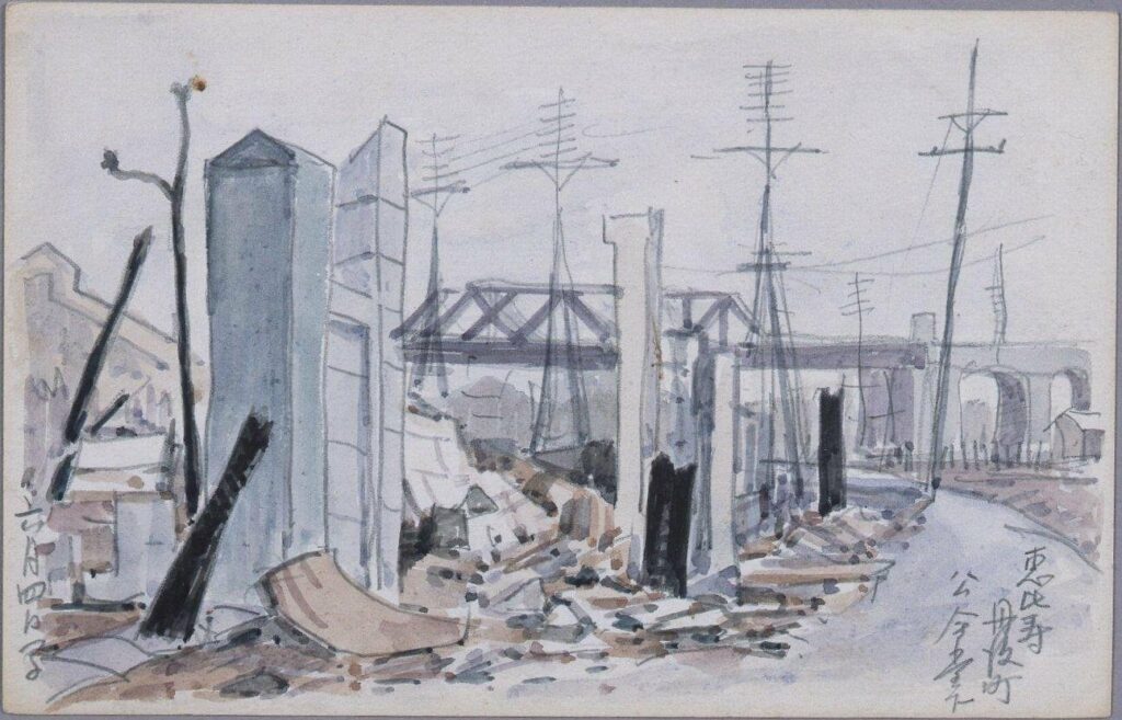 作品画像:東京戦災スケッチ16 恵比寿丹後町公会堂下