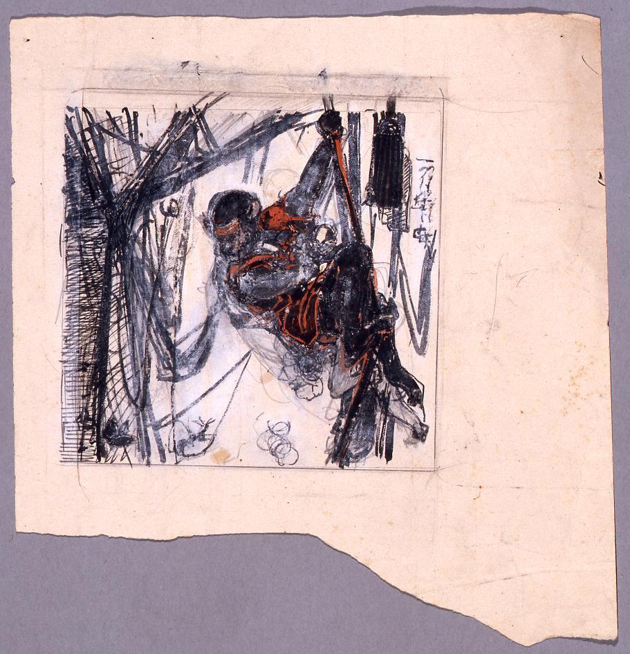 作品画像:下絵 綱を渡る猿