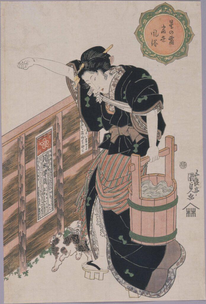 作品画像:星の霜当世風俗 水を汲む女