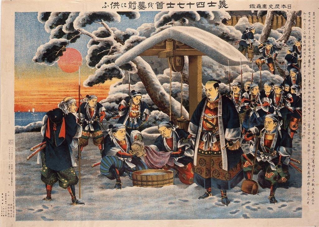 作品画像:日本歴史画亀鑑 義士四十七士首を墓前に供ふ