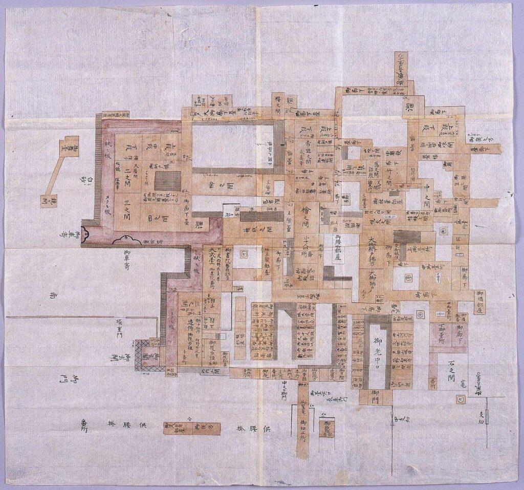 江戸城本丸表の図(障壁画作者名入)
