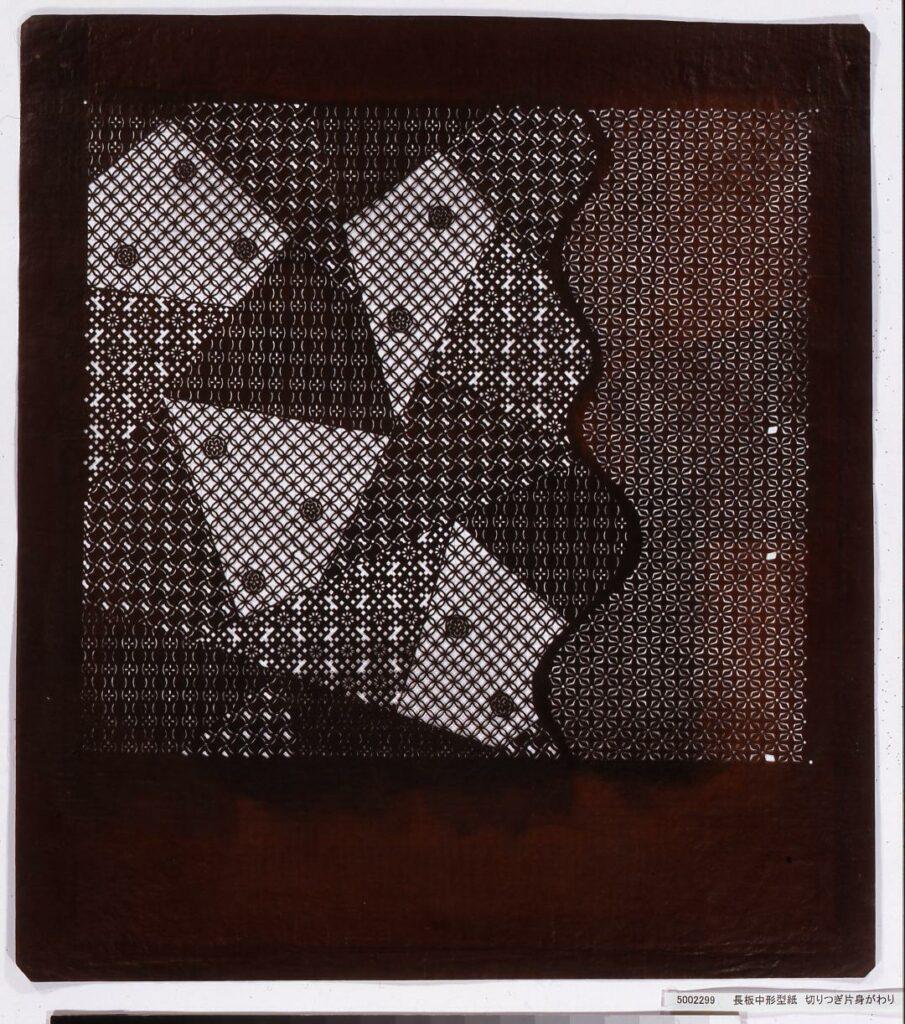 作品画像:長板中形型紙 切りつぎ片身がわり