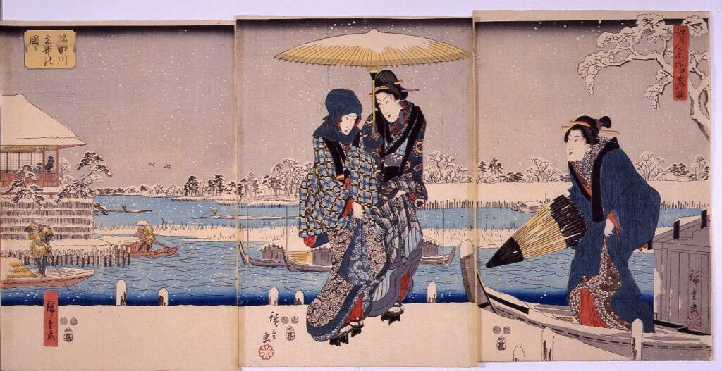 作品画像:江戸名所四季の眺 隅田川雪中の図