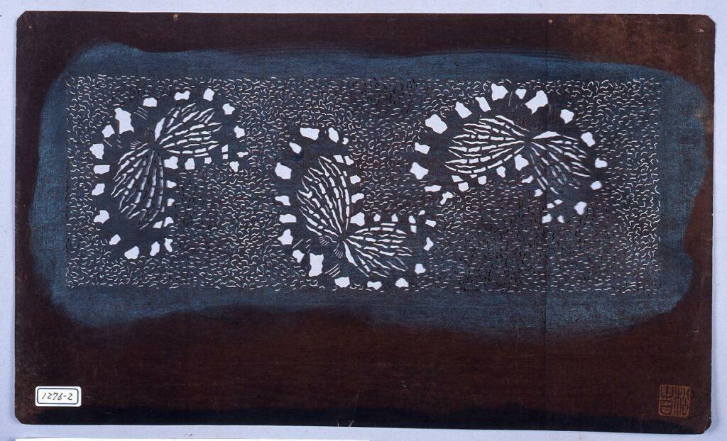 作品画像:長板中形型紙 蝶 (小判 追掛)