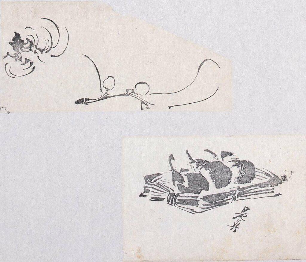 作品画像:墨版貼交 梅枝、茄子