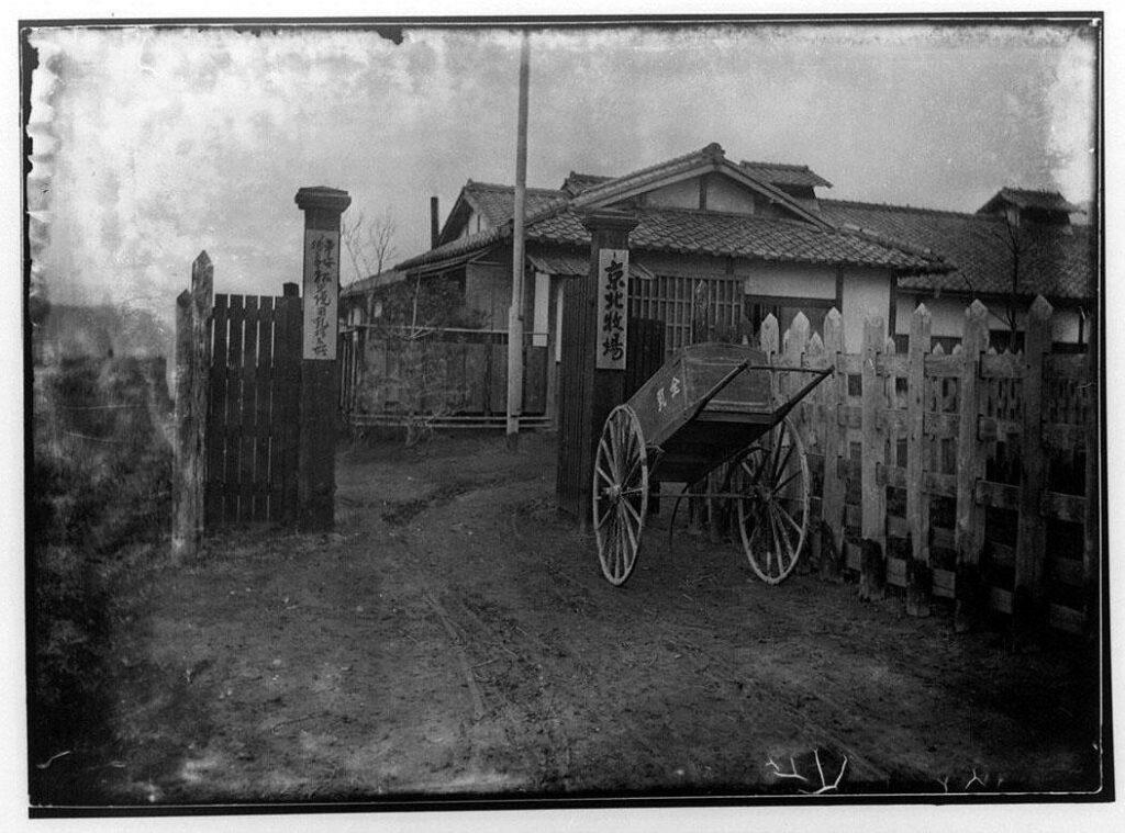 作品画像:京北牧場(平安徳義会孤児院用搾乳場)入口とリヤカー