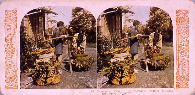 作品画像:Yokohama,Japan.A vegetable Peddler Showing His Stock.174
