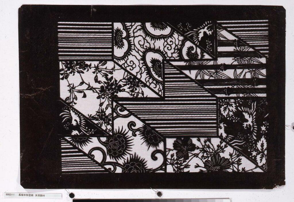 作品画像:長板中形型紙 矢羽割付