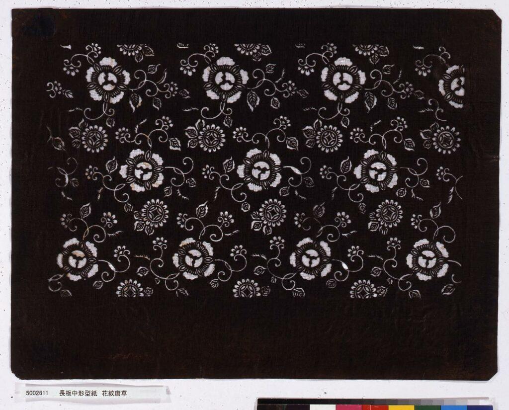 作品画像:長板中形型紙 花紋唐草