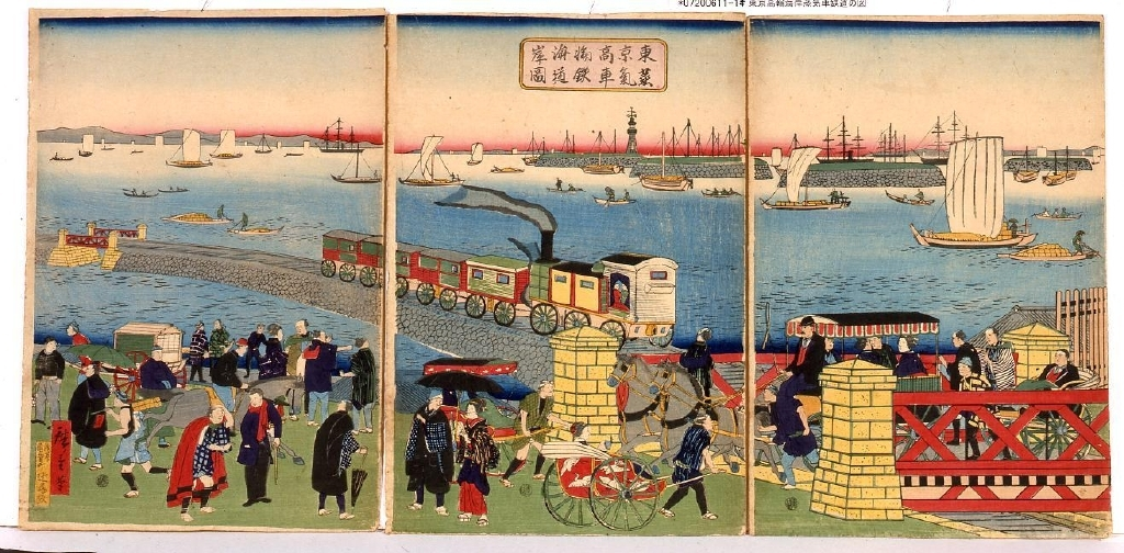 作品画像:東京高輪海岸蒸気車鉄道の図