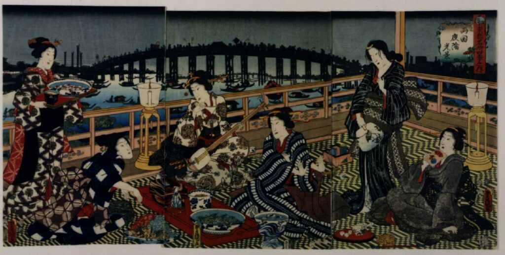 作品画像:東都名所四季之内 両国夜陰光景