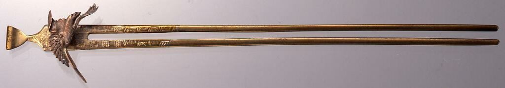 作品画像:真鍮鶴飾簪