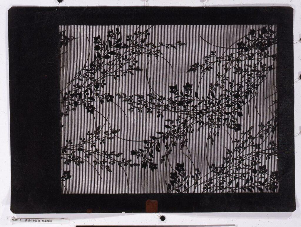 作品画像:長板中形型紙 秋草横縞