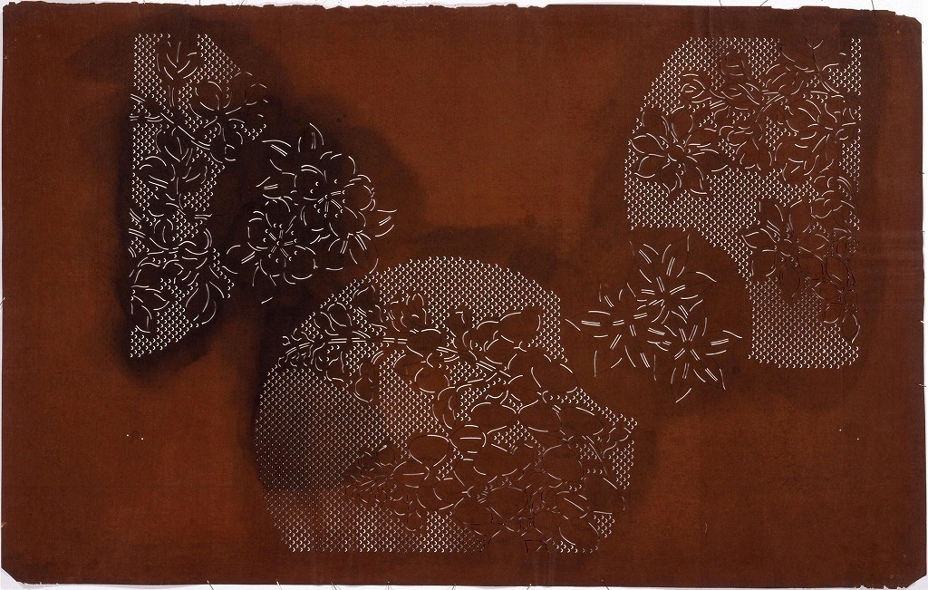 長板中形型紙 花丸 鹿の子(大判 追掛)