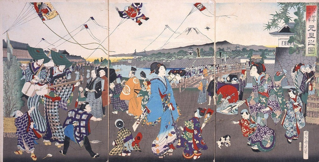 作品画像:江戸砂子年中行事 元旦之図