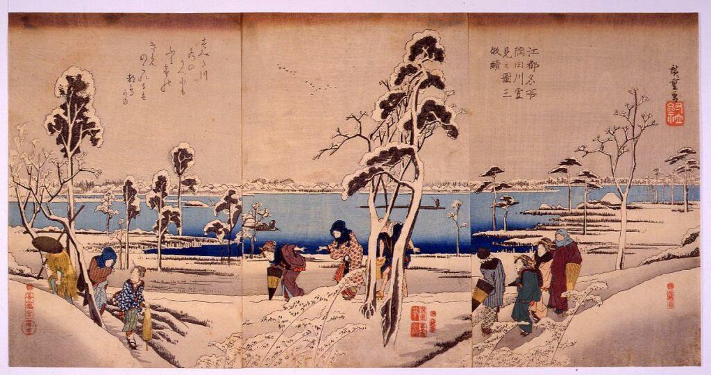 作品画像:江都名所 隅田川雪見之図