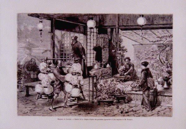 作品画像:アンベール「幕末日本図絵」挿絵 花屋の店先,鐔,三所もの