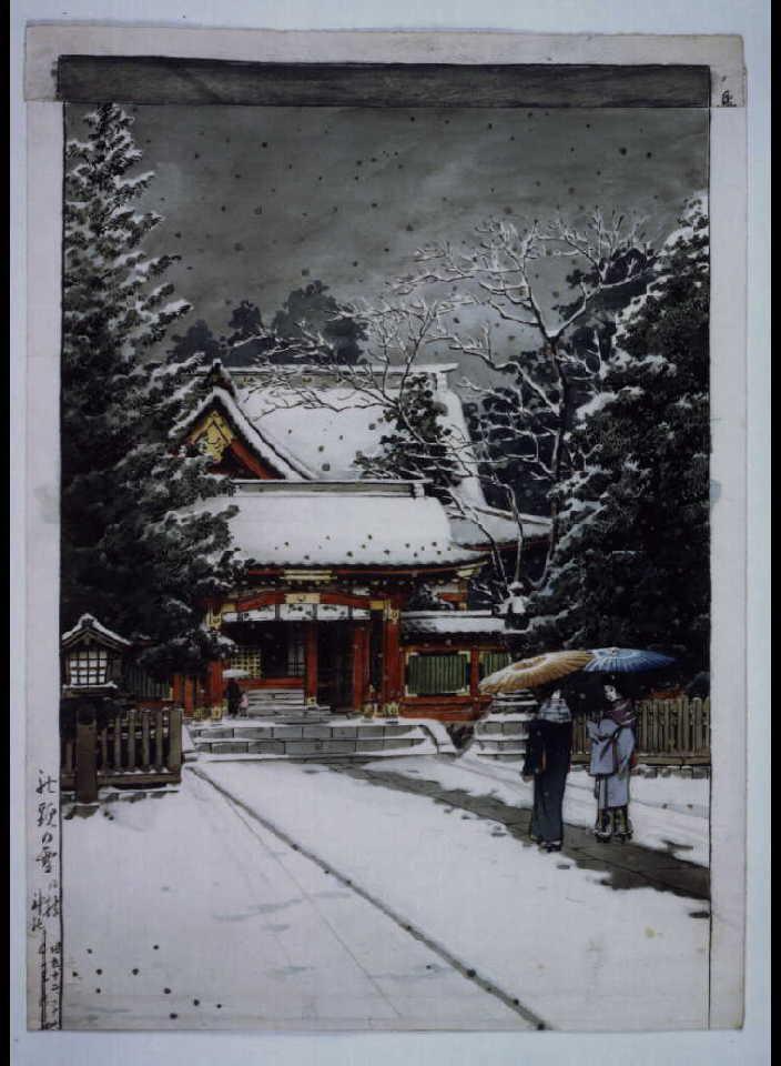 作品画像:社頭の雪(日枝神社) 原画