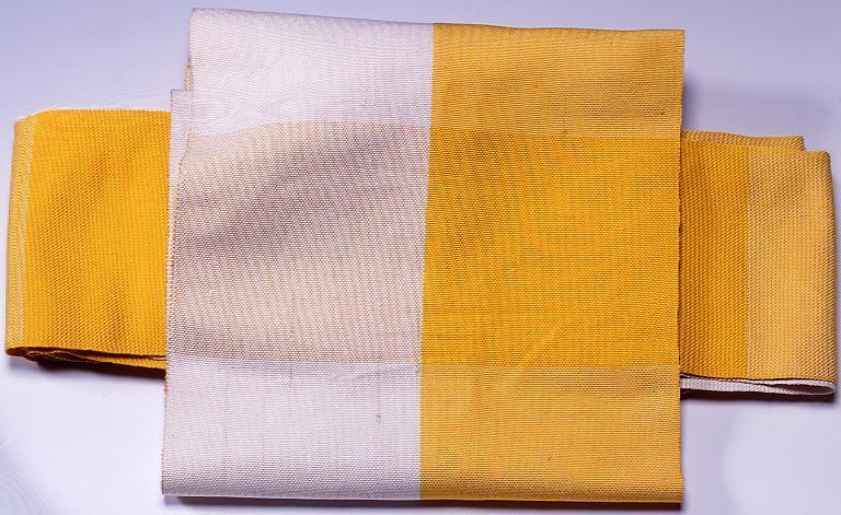 夏帯(黄と白地)