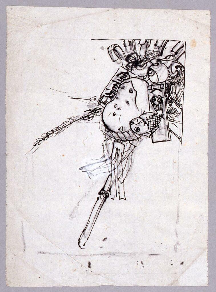 作品画像:下絵『新婦人』 第3年11月表紙 酉の祭