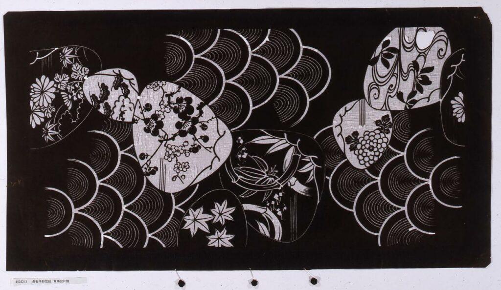 作品画像:長板中形型紙 青海波に蛤