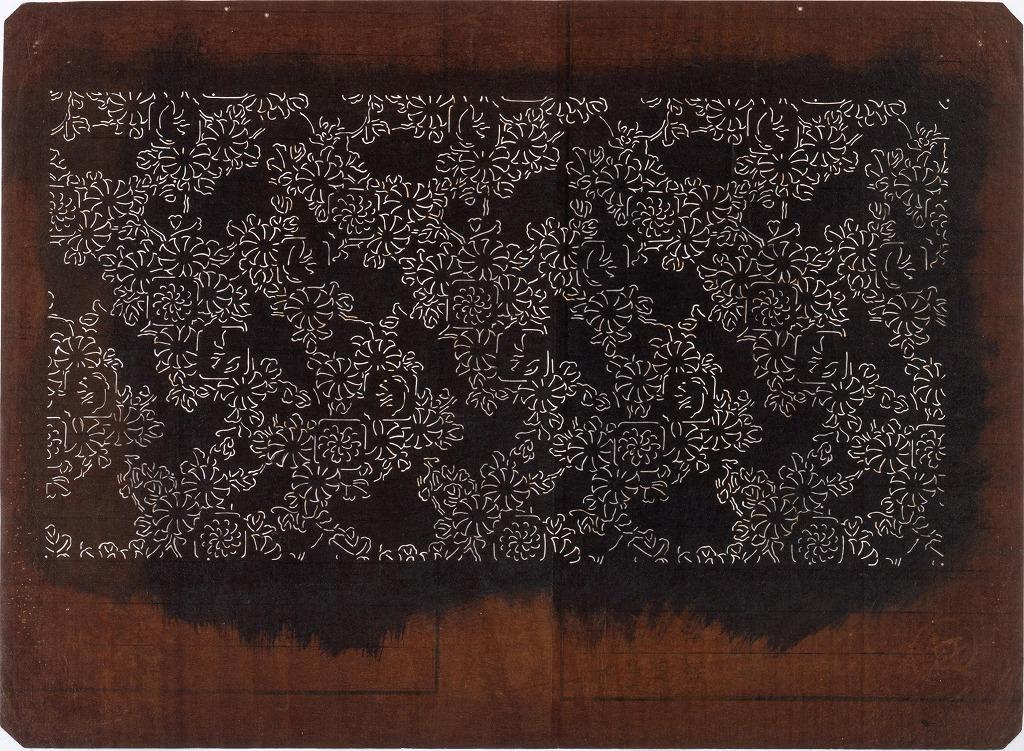 作品画像:長板中形型紙 菊にうさぎ(小判 追掛)