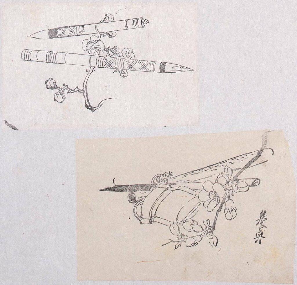 作品画像:墨版貼交 筆と梅花、筆と桜花