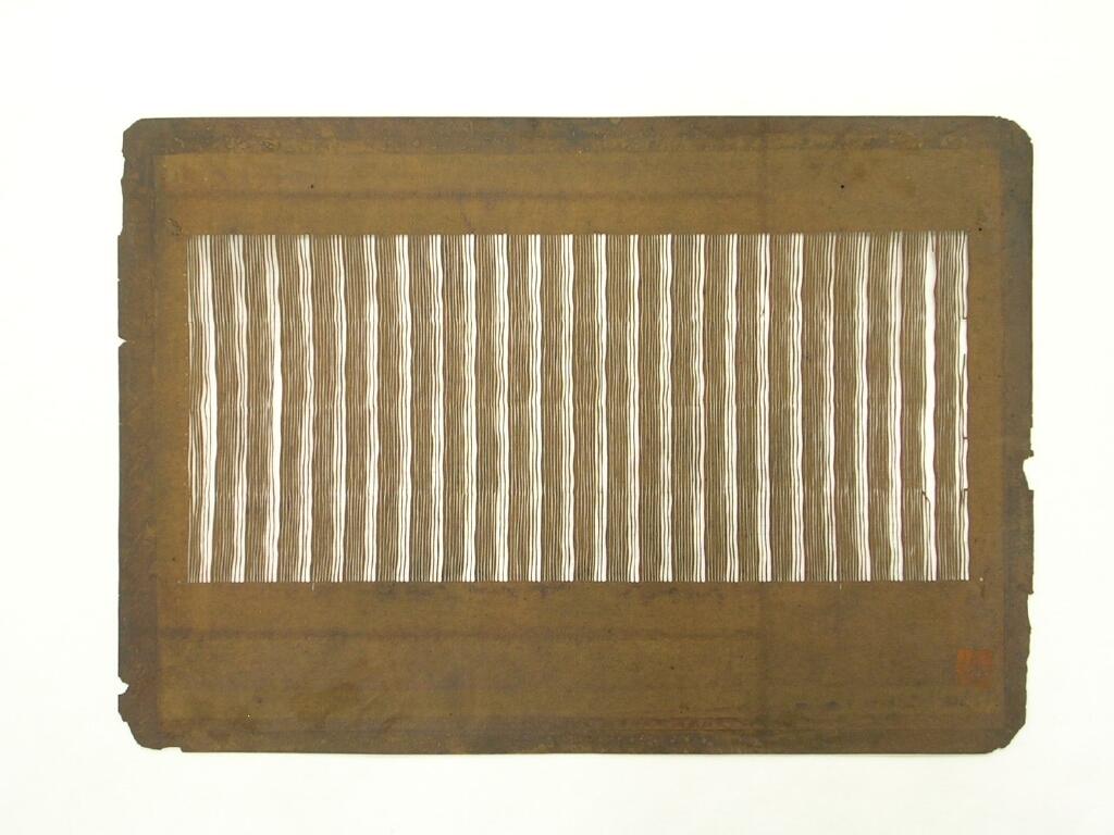 作品画像:長板中形型紙 中判糸入 変わり養老縞