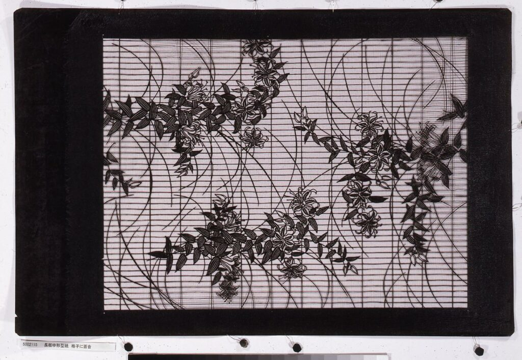 作品画像:長板中形型紙 格子に百合