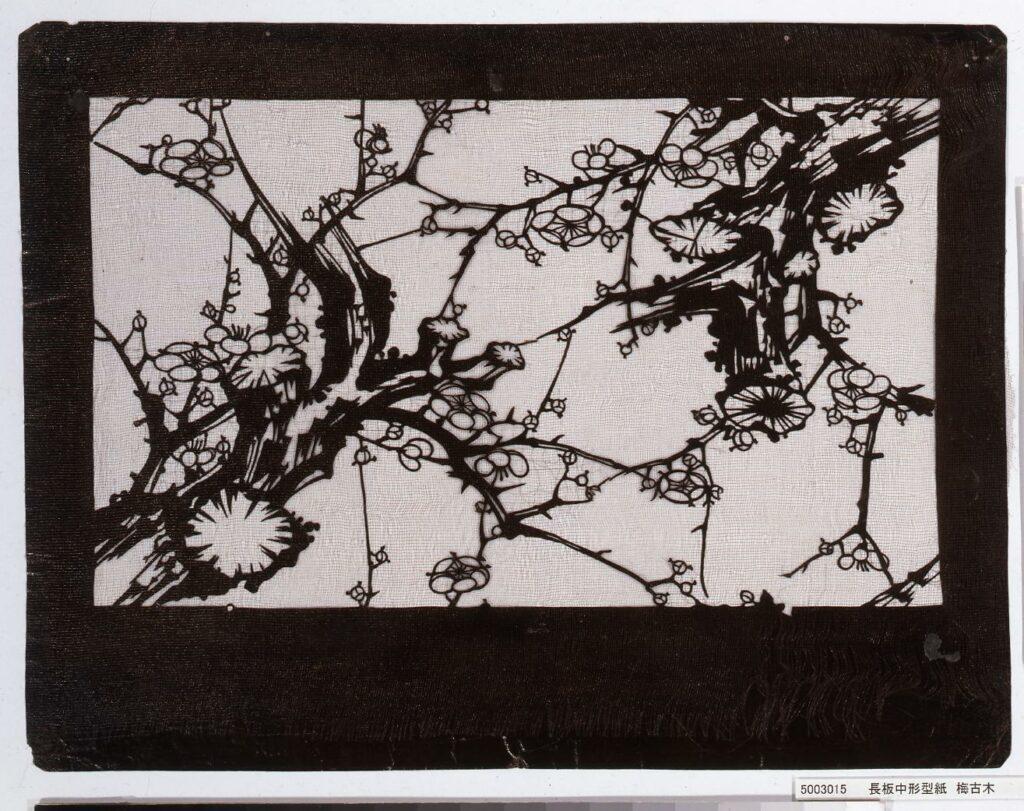 作品画像:長板中形型紙 梅古木