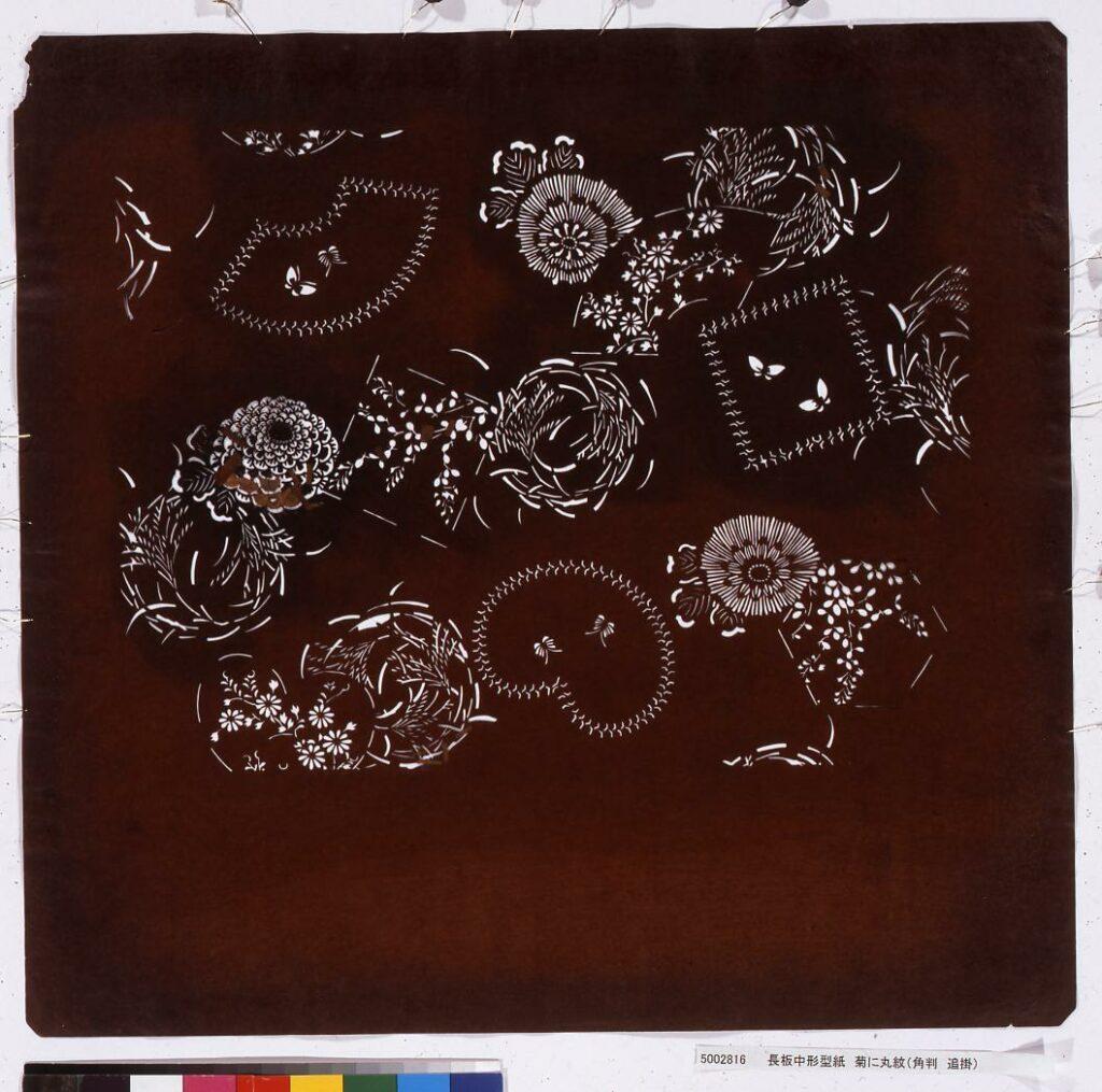 作品画像:長板中形型紙 菊に丸紋(角判 追掛)