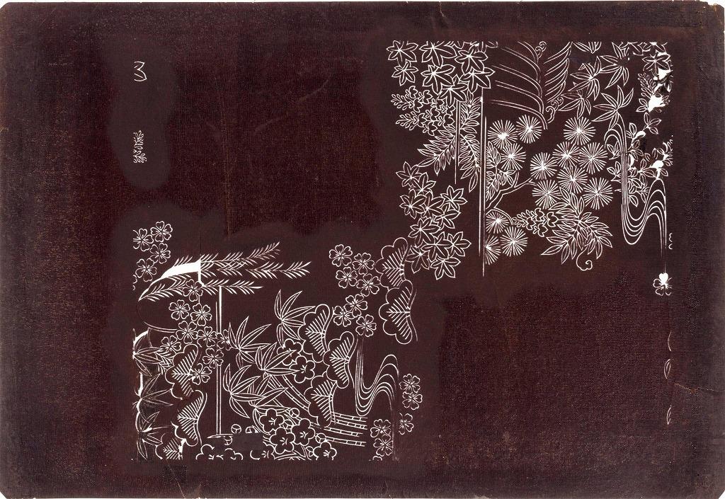 作品画像:長板中形型紙 松竹梅分割模様
