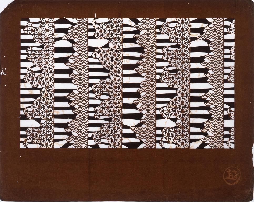 作品画像:長板中形型紙 麻の葉と青海波(小判 追掛)