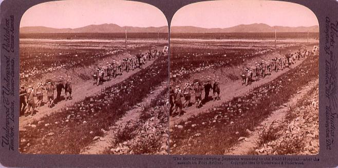 作品画像:The Red Cross carrying Japanese wounded to the Field Hospital―after theAssault on PortArthur.