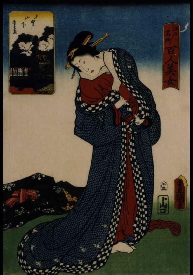 作品画像:江戸名所百人美女 上野山下