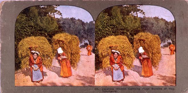 作品画像:Japanese Women Carrying Huge Bundles of Hay, Yokohama. 636