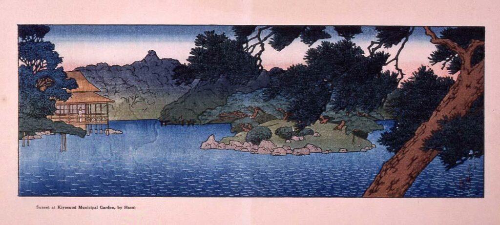 三菱深川別邸の図 松の池畔の涼亭