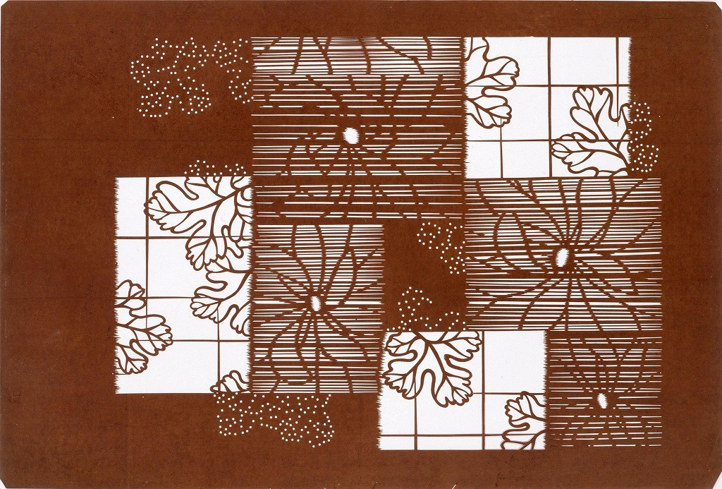 作品画像:長板中形型紙 菊分割模様