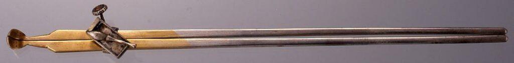 銀筆硯飾香箸形簪